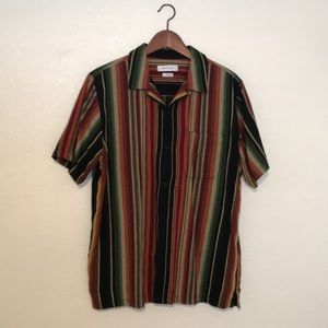 UO colorful stripe short sleeve button down shirt